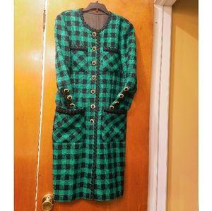 Dresses & Skirts - Green & Black Plaid Wool Dress